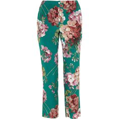 Gucci Cropped Silk Trousers With Blooms Print (10.317.320 IDR) ❤ liked on Polyvore featuring pants, capris, trousers, gucci, bottoms, blue crop pants, silk trousers, silk cropped pants, floral silk pants and blue floral pants