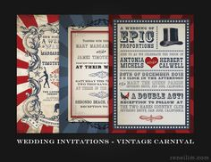 Vintage Carnival wedding invitations