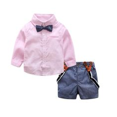 4dbe42f8634 2017 gentleman formal baby boys clothing sets infant spring autumn tie  shirt overalls party wedding two