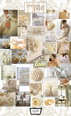 All shades of cream, white, ivory and beige!!