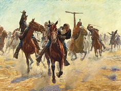 Except Remington and Russell, no other artist had greater influence on Western film director John Ford than Charles Schreyvogel, who in the 1890s and 1900s painted some of the most popular, realistic action paintings of the American Indian wars, including his undated oil painting Breaking Through the Line.  – Courtesy of Gilcrease Museum, Tulsa, OK, 0127-1235 –