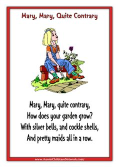 Kids Rhymes Mary Quite Contrary