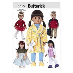 """Butterick 18"""" (46cm) Doll Clothes Pattern from @fabricdotcom  Pattern is for size One Size. <br><a href=https://s3.amazonaws.com/fabric-pdf/Butternick+Pattern+Back/B3329back.pdf>Click here for pattern back.</a> <br>"""