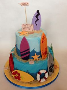 A 2-tier surf cake with hand painted surfboards.