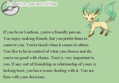 #470, Leafeon - not only is Leafeon my favourite Pokemon, it's also the one I relate to most