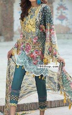 Teal Lawn Suit | Buy Mausummery Eid Collection Pakistani Dresses and Clothing online in USA, UK