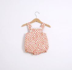Vintage Baby Sunsuit Romper in Red Tomato Print Early by udaskids, $14.00