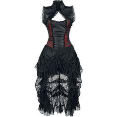 Lang kjole med integreret corsage med inderfor af 100% bomuld og nederdel af tyl og blonder. Kjolen har sømme og indlæg af 100% polyvinylklorid.