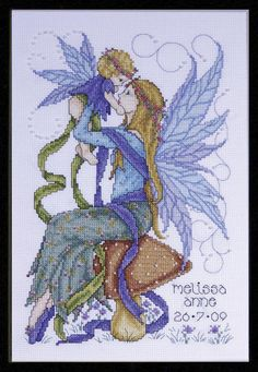 Design Works Crafts - Faerie Mother 2707, Beaded Counted Cross Stitch Picture Kit, Birth Announcement