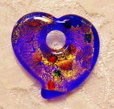 Royal Blue Lampwork Heart Art Glass Pendant Focal Bead W/Gold Foil About 38x40mm #Lampwork