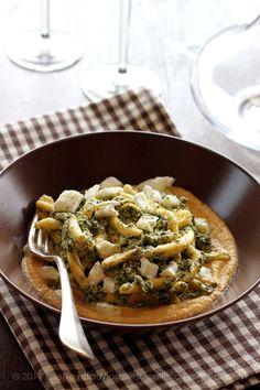 Hand-made Fusilli with Borage, Mozzarella di Bufala & Cicerale Chickpeas