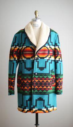 vintage 1970s Pendleton indian blanket wool coat