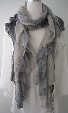 Starry Night Vintage styled Scarf. Love the tones of slate blue, soft lilac and grey in cascades of different  crochet, lace and sheer cotton material. Romantic & feminine this scarf looks sensational with everything from jeans to dresses. #Fashion #Accessories