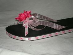 Breast cancer flip flops Small Medium Large adults and kids