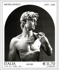 """Francobollo ordinario appartenente alla serie tematica """"il Patrimonio artistico e culturale italiano"""" dedicato a Michelangelo, nel 450° anniversario della scomparsa"""