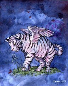 Winged White Tiger Cub by lady-cybercat.deviantart.com on @deviantART
