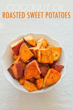 Coconut Oil Roasted Sweet Potatoes with Cinnamon, Sea Salt and Cayenne. Only a couple ingredients are needed and they are all clean eating friendly. Make these healthy sweet potatoes during meal prep to last the week. Pin now to make later. Sweet Potato Breakfast, Salad With Sweet Potato, Sweet Potato Recipes, Clean Eating Recipes, Cooking Recipes, Healthy Recipes, Healthy Food, Healthy Eating, Sin Gluten