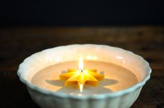 Set of 3 100% Pure Beeswax Artisan Floating Star by PioneerCandle