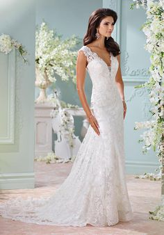 Hand-beaded Alencon lace appliqués and tulle over charmeuse slim A-line cage dress with slight cap sleeves | David Tutera for Mon Cheri | https://www.theknot.com/fashion/116204-dayton-david-tutera-for-mon-cheri-wedding-dress |