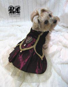 Venetian Masquerade inspired gown  in black velvet and embossed magenta blossoms. $375.00 (XXS-S) - $400.00 (M) - $450.00 (L) - $500.00 (XL) www.roxyandlulu.com