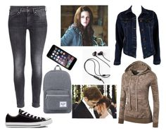 """Bella Swan Twilight"" by book-girl-4 ❤ liked on Polyvore featuring MiH Jeans, H&M, Converse, Cullen, twilight, bella, movies and vampire"