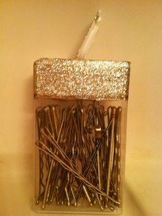 *Tic tac container for bobby pins, decorated with glitter polish*
