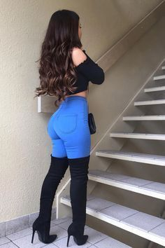 Swag Outfits, Mode Outfits, Cute Casual Outfits, Girl Outfits, Fashion Outfits, Fashion Heels, Denim Outfits, Jeans Fashion, Sexy Jeans Outfit