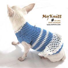 Baby blue puppy dress handmade crochet by myknitt #myknitt #handmade #crochet #diy #doggie #chihuahua #corgi #yorkie #puppy #petfashion #petboutique