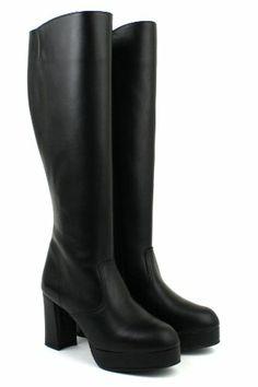 Amazon.co.jp: [アキリコ] akiriko 本革 日本製 ハイヒール 約2.5cmストーム オールブラック サイドジッパー ロング丈ブーツ: シューズ&バッグ