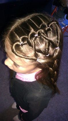 We did this on Kiera's hair for her Valentine's day party at school. Though we only had two hearts.. and had braids, instead of ropes. Her teachers fell in love! =D