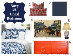 Navy and coral bedroom moodboard