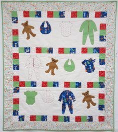 Create this adorable baby quilt in colours and patterns that are just perfect for your special little one. A really quick and fun project to make. It combines piecing and applique to make a beautiful baby quilt. Available as a download and by post.