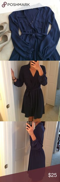 """🆕 listing... 💜XX1 chiffon dress Collard v neck line, snap front chest closure, double front chest pockets, elastic waist, tie belt long sleeve with plastic button closure. Bottom lined. 100% poly EUC! 35"""" long 19"""" across underarm 12.5"""" waist can stretch up to 17"""" Forever 21 Dresses Long Sleeve"""