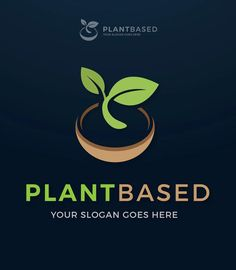 Plant Based Vegan Sprout Logo Template AI, EPS