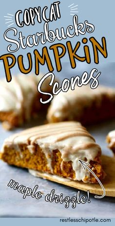 Easy pumpkin scones recipe has a glorious duo of glazes that proclaim fall flavor in every luscious, pumpkiny bite. The velvety, golden crumb is buttery and melts in your mouth while the bourbon glaze adds a soft, sweet backdrop for the maple drizzle. Best Pumpkin Pie, Pumpkin Scones, Healthy Pumpkin, Pumpkin Dessert, Pumpkin Recipes, Fall Recipes, Pumpkin Spice, Sweet Recipes, Thanksgiving Recipes