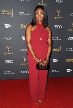 Angela Bassett pre-Emmy party. Emmys / Television Academy Entertainment Weekly  fabulous #beauty #style