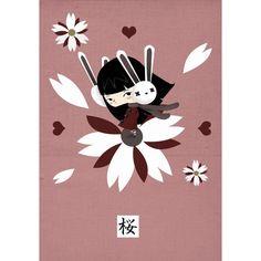 """«Sakura» por Alejandro de Marcos. Dibujante, ilustrador. Reproducción ink-jet 8 colores con tintas DYE (consiguen un alto grado de calidad en impresión y mayor luminosidad). Papel fotográfico """"satin"""" 240 gr. http://moolacool.com/es/85-alejandro-de-marcos-sakura-cartel.html"""