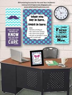 TEACHER PRINTABLES Counseling Confidentiality Poster - This printable poster would be great for a school counselor's office or teacher's classroom. It features a fun polka dot background with a textured look and the words:  What you say in here...stays in here. Unless: Someone is hurting you. You want to hurt someone. You want to hurt yourself. You give me permission to share with a trusted adult.