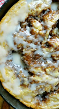 Brown Butter Cinnamon Roll Skillet Cake Recipe ~ A warm, fluffy cake, filled with little craters of brown sugar and cinnamon, reminiscent of a freshly baked cinnamon roll. If you don't have a skillet, you can bake it in a 8 x 8 pan, or you can double the recipe and bake it in a 9 x 13 pan.