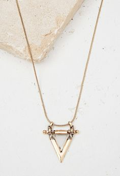 FOREVER 21 engraved triangle pendant necklace