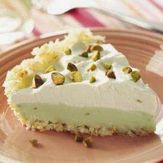 Coconut Pistachio Pie ~ My family simply loved the lightly toasted coconut crust that paired so well with the pale green pistachio pudding in this quick pie.