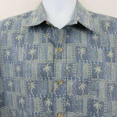 4470980b8 Cooke Street Reverse Print Blue Tile Palm Mens XL Aloha Hawaiian Shirt  Cotton  CookeStreet