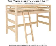 Twin Size Junior Loft Bed Frame - Solid Unfinished Wood