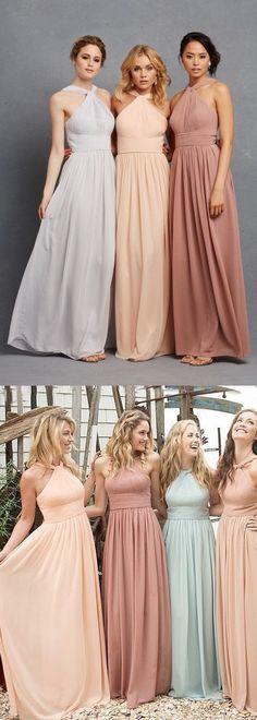 Blush Pink bridesmaid dress,Halter Neck bridesmaid dress,Light sky blue,Peach bridesmaid dress,Long