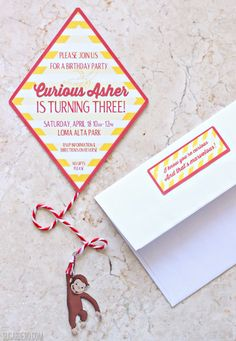 Curious George Birthday Party invitation | Curious George Party ideas from SugarHero.com