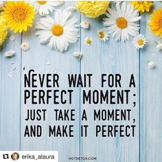 #Repost @erika_alaura (@get_repost)   Never wait for the perfect moment; just take a moment and make it perfect.   #loveeachmoment #perfectmoment #lovelife #hereandnow #presentmoment #enjoylife #consciousness #awareness #mindfulness #lifeisbeautiful #joy  Repost from @hayhouseinc by @juliedaniluk