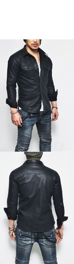 Tops :: Masculine Sexy Stretchy Leather Button Down-Shirt 109 - Mens Fashion Clothing For An Attractive Guy Look