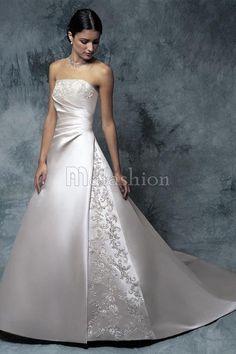 Robe de Mariée Classique Distinguee de Traîne Mi-longue Avec Sans Manches