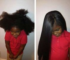 HAIR / STRAIGHTEN / LITTLE GIRL / LONG HAIR / NATURAL HAIR / BEFORE & AFTER / HEALTH HAIR / BLACK GIRL HAIRSTYLE / CHILD / CHOCOLATE HAIR