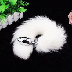 Fox Tail Butt Plug - White Stainless Steel with Large Faux Fox Tail Cosplay Anime Sexy Cute Animal Furry Mature    Become a thing of beauty with our fox tail anal accessories! Simply insert into the anus and suddenly you transform into a wondrous fox! Experience the pleasures of life and enjoy the ultimate thrill after the tribunal